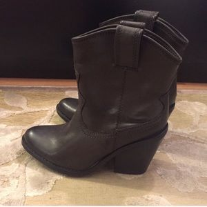 Just Fab Brown Low Heeled Bootie